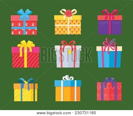 Set Of Parcel Package Icons In Decorative Wrapping Paper With Bows And Ribbons Vector Isolated On Gr