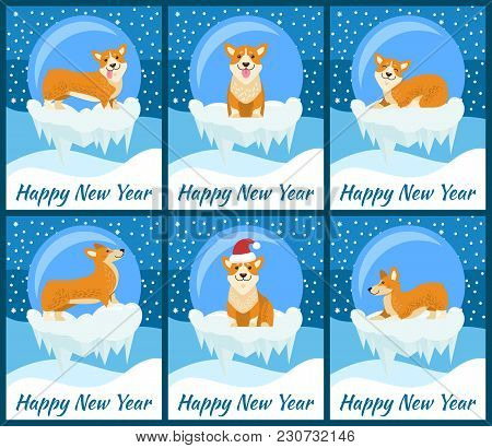 Happy New Year Posters With Corgi Dog Inside Glass Bubble With Bottom Covered With Ice And Snowflake