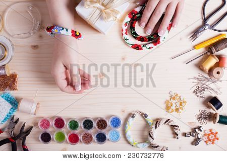 Beads And Tools For Creating Jewelry. Preparation For Handmade. Top View