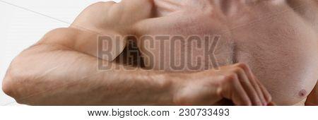 Fitness Man Background Shoulder Biceps Pectoral Muscles Triceps Bodybuilder On A Gray Background Dem