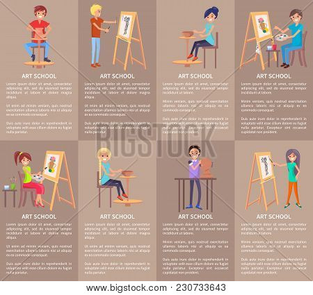 Art School Set Of Banners With People Doing Pottery Modeling, Drawing On Easel, Creating Pots From C