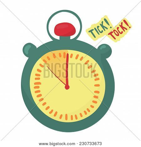 Timer Indicates The Time Is Running Out. Last Minute. Arrows Make Tick Tock. Vector Stopwatch