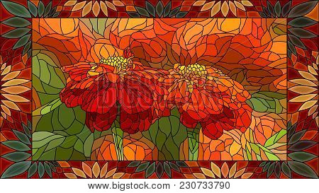 Vector Mosaic With Flowers Red Marigold In Vertical Stained-glass Window Frame.