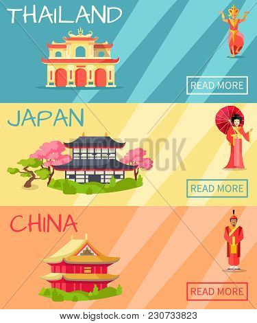 Thailand, Japan And China Types Of Houses Web Banner. Vector Poster Of Thailand Building, Japanese T