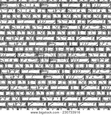 Seamless Vector Black And White Background Of Drawing Brick Wall With Crack (black Pen).