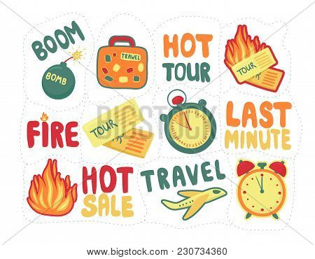Sticker Pack Last Minute. Set Discounts For Tourist Trips. Travel Last-minute Sale. Vector