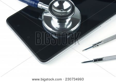 Stethoscope And Smartphone. Device Repair.