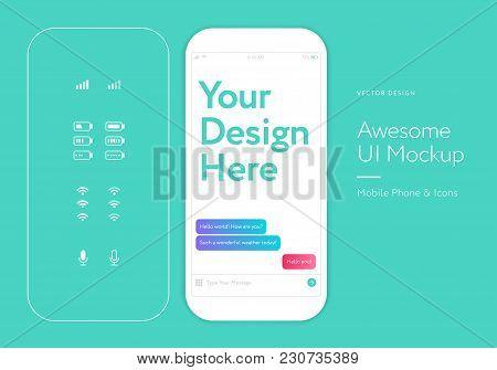 Ui Kit - White Mobile Phone Mockup Messenger Application Mockup - Mobile App User Interface Design -
