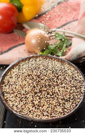 Mix Of Organic White, Yellow And Black Quinoa, Dietary And Healthy Food