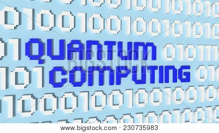 Light Blue Wall Wil Binary Streams Quantum Computing Concept 3d Illustration