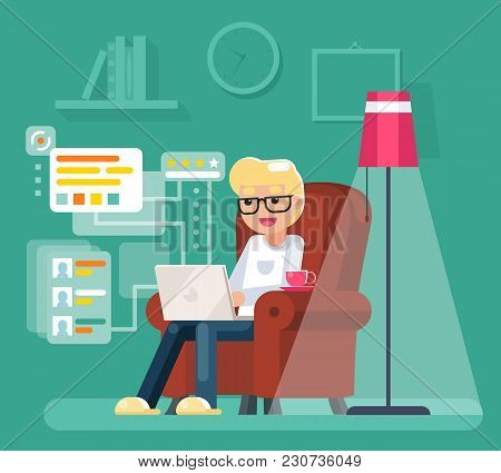 Work At Home Man Sit In Armchair Laptop Working Internet Flat Design Vector Illustration