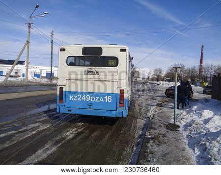 Kazakhstan, Ust-kamenogorsk, March 9, 2018: City Bus On One Of The Streets Of The City. City Outskir