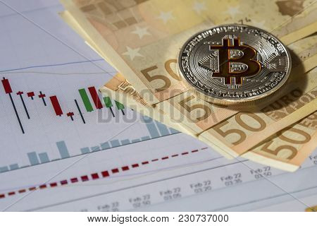 Cryptocurrency Coins Over Buy And Sell Trading Graphic And Euro Banknotes; Bitcoin  Coins