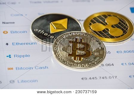Cryptocurrency Coins Over Market  Cap List; Bitcoin, Ethereum And Ripple Coins