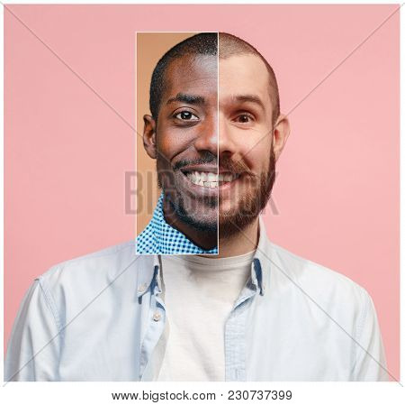Collage From Two Images Of Smiling African American And Caucasian Men. Community Of Ethnic Races Con