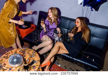 Partial View Of Multicultural Women Having Party Together