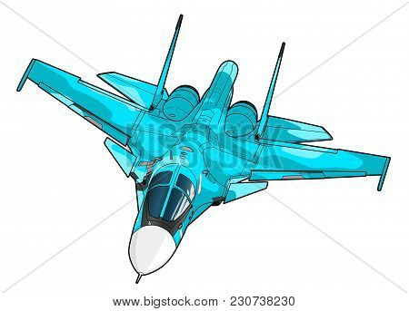 Landing Of The Newest Russian Jet Bomber Aircraft. Technichal Draw. Isolated On White Background.