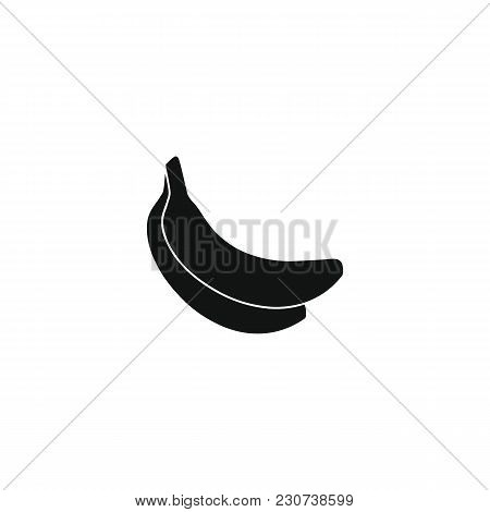 Banana Icon In Black Silhouette Style. Vector Illustration With Banana Isolated On White Background.