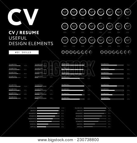 Creative Cv Design - Curriculum Vitae Useful Design Elements Infographic - Vector White Icons On Bla