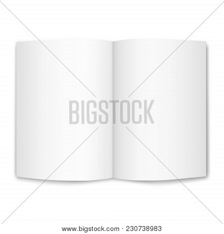 Isolated On White Empty Sheet Of A4 Paper, Bent In Half.  Vector Realistic Image Of A Sheet Of Paper