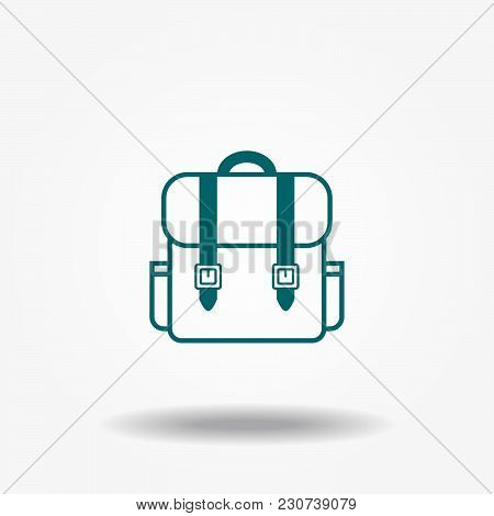 Backpack Icon Vector. Monochrome Silhouette. Stylized Simplified Symbol Of Rucksack.