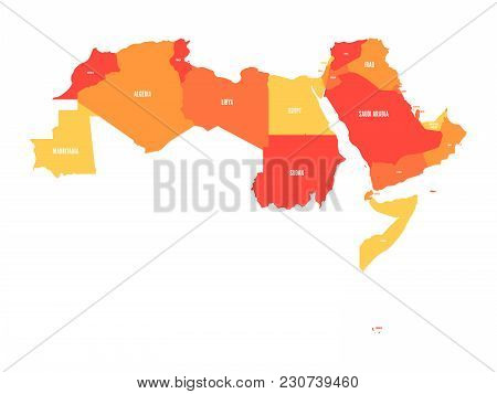 Arab World States. Political Map Of 22 Arabic-speaking Countries Of The Arab League. Northern Africa