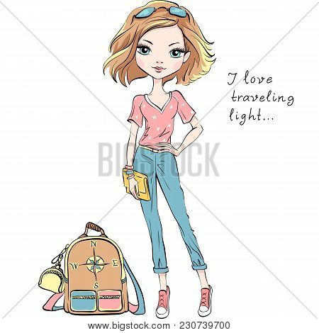 Vector Beautiful Fashion Girl In Summer Clothes With Backpack And Clutch Bag