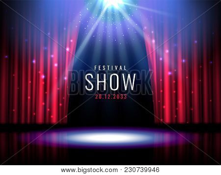 Theater Stage With Red Curtain And Spotlight Vector Festive Template With Lights And Scene. Poster D