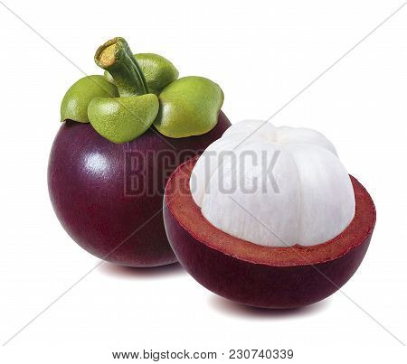 Mangosteen With Leaf And Cut Half Isolated On White Background. Package Design Element