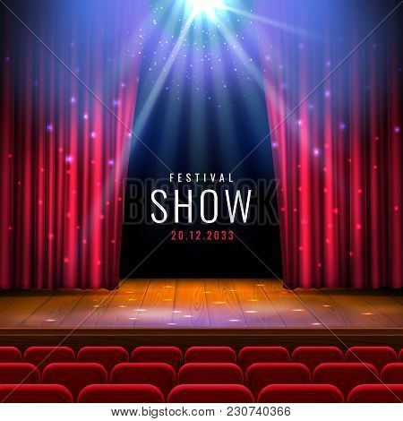 Theater Wooden Stage With Red Curtain, Spotlight, Seats.vector Festive Template With Lights And Scen