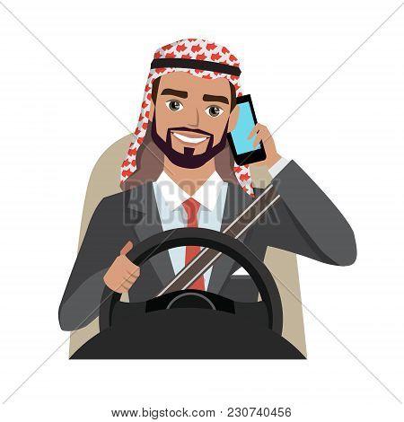 Arab Businessman Driving A Car Talking On The Phone. Vector Cartoon Character