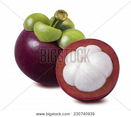 Tropical Mangosteen Isolated On White Background. Whole And Cut Half Piece For Package Design.