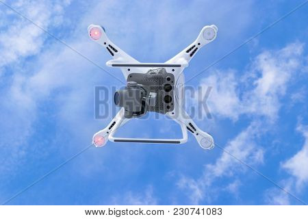 Sankt-petersburg, Russia, March 12, 2018: The New Aircraft Dji Phantom 4 Pro Quadcopter Drone With 4