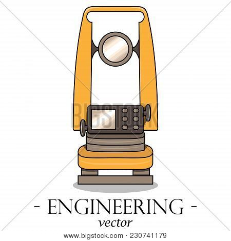 Vector Color Engineering Logo Of A Theodolite. Geodesy.