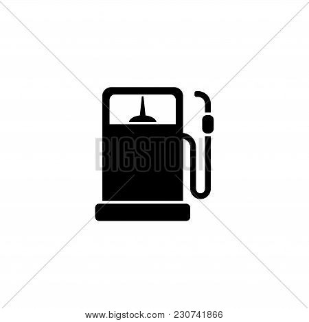 Refueling Column. Flat Vector Icon. Simple Black Symbol On White Background