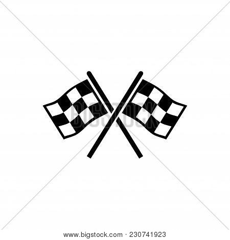 Finishing Flags. Flat Vector Icon. Simple Black Symbol On White Background