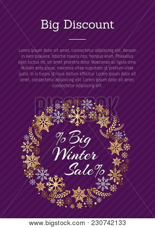 Big Discount Winter Sale Poster With Place For Text On Purple, Decorative Frame Made Of Golden Snowf