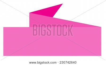 Pink Ribbon Banner On White Background. Pink Banner. Flat Style. Vintage Pink Ribbon Banner.