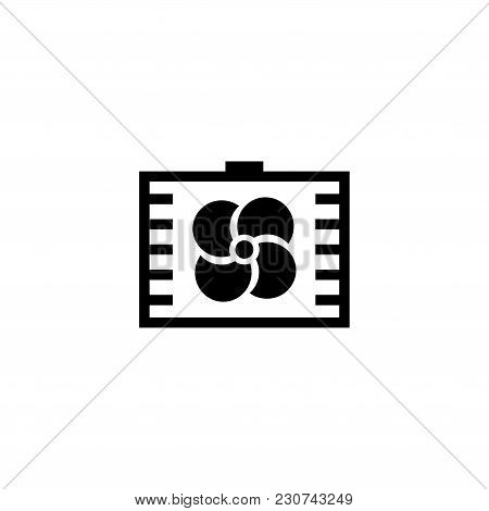 Ventilation. Exhaust Air Ventilator Or Fan. Flat Vector Icon. Simple Black Symbol On White Backgroun