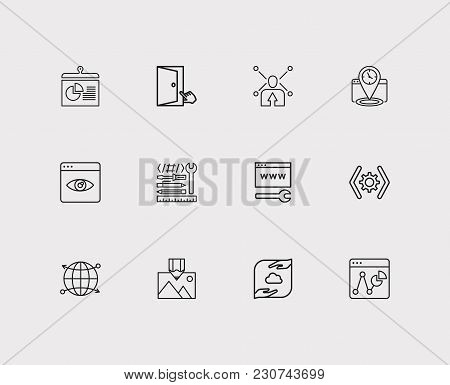 Engine Icons Set. Accessibility And Engine Icons With Web Development, Seo Tracking And Data Managem