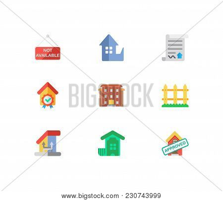 Property Icons Set. Fence And Property Icons With House Not Available, Residential Area And Home Loa