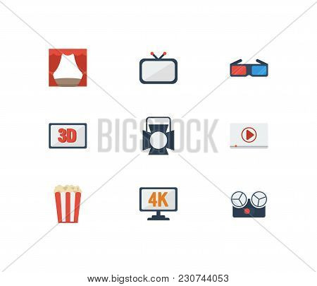 Video Icons Set With 3d Movie, Cinema Tape And 3d Glasses Elements. Set Of Video Icons Also Includin