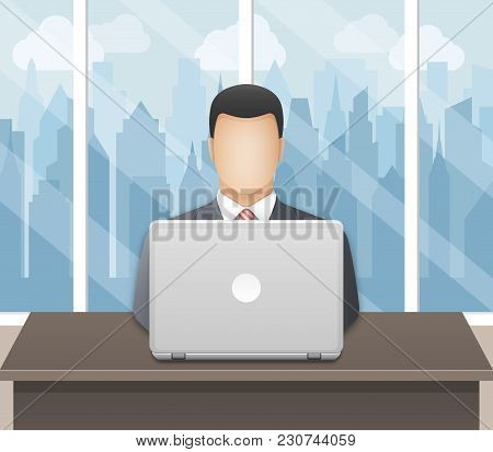 Businessman Working On Laptop In An Office On A Cityscape Background. Vector Illustration