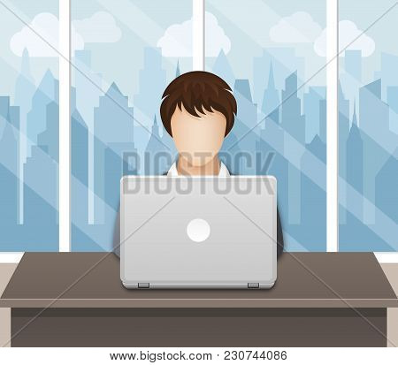 Businesswoman Working On Laptop In An Office On A Cityscape Background. Vector Illustration