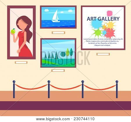 Art Gallery Exhibition With Pictures Hanging On Wall Behind Barrier Vector Illustration In Flat Styl
