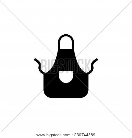 Kitchen Apron Protective Garment. Flat Vector Icon. Simple Black Symbol On White Background