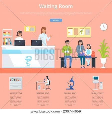 Waiting Room Hospital Service With Clinic Front Desk And Patients Waiting For Doctor S Appointment.