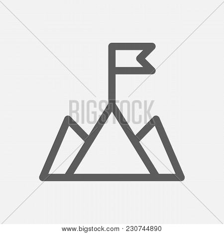 Core Values: Mission Icon Line Symbol. Isolated Vector Illustration On Company Values Mountain Sign