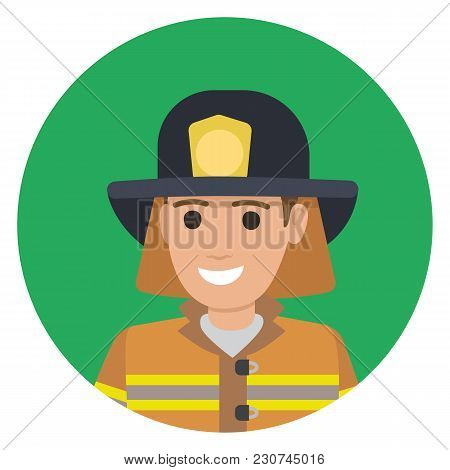 Cheerful Firefighter In Protective Suit And Black Hat Closeup Vector Illustration Avatar Userpic. Ma