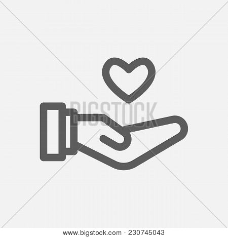 Core Values: Responsible Icon Line Symbol. Isolated Vector Illustration On Core Values Save Heart Si